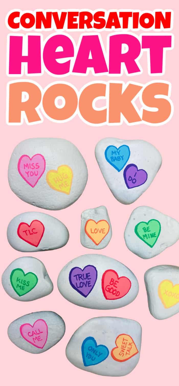 Conversation Heart Rock Painting