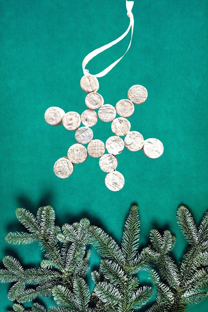 White Cork Snowflake Ornament