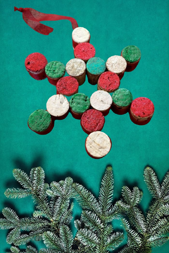Red and Green Cork Snowflake Ornament