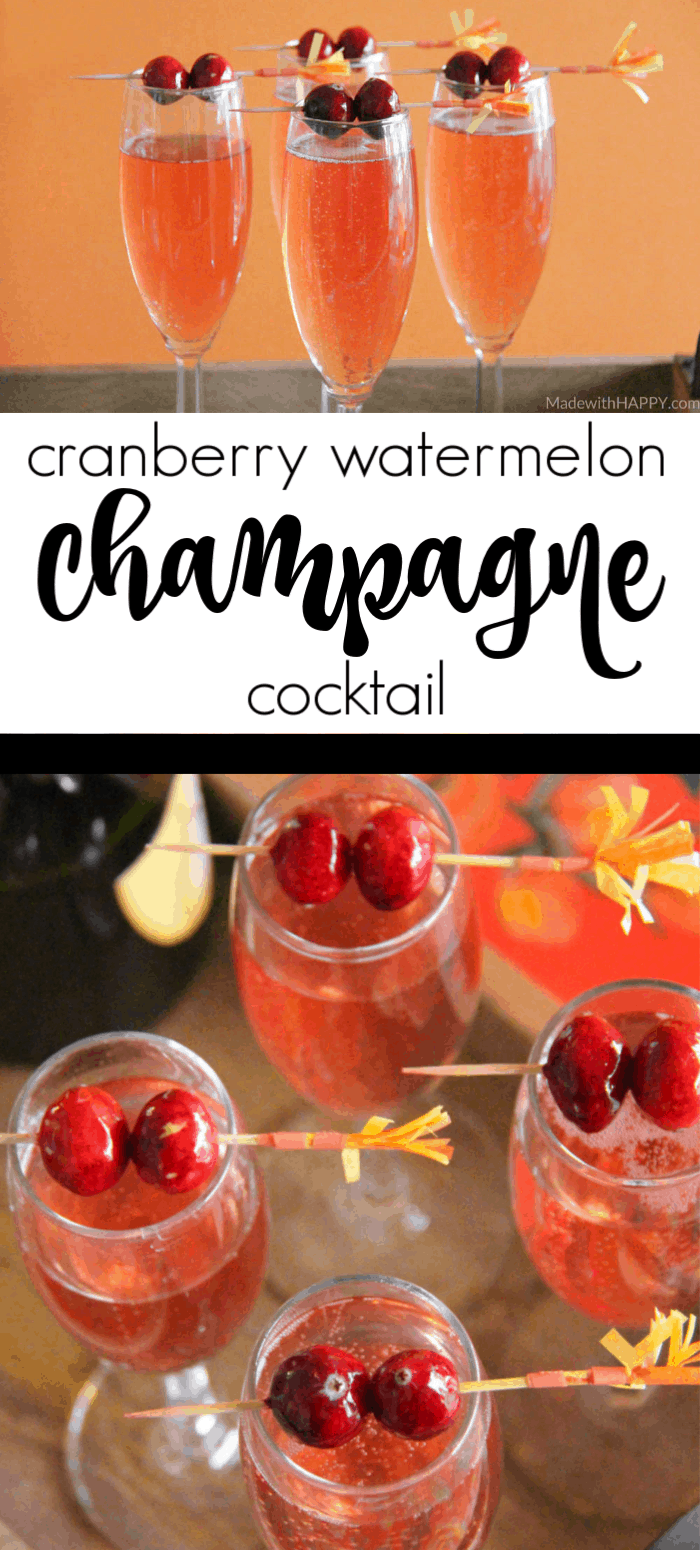 Champagne Cocktail Recipe. Cranberry Watermelon Champagne Cocktail | Holiday Cocktails | Cranberry Cocktails | Champagne Cocktails | www.madewithhappy.com