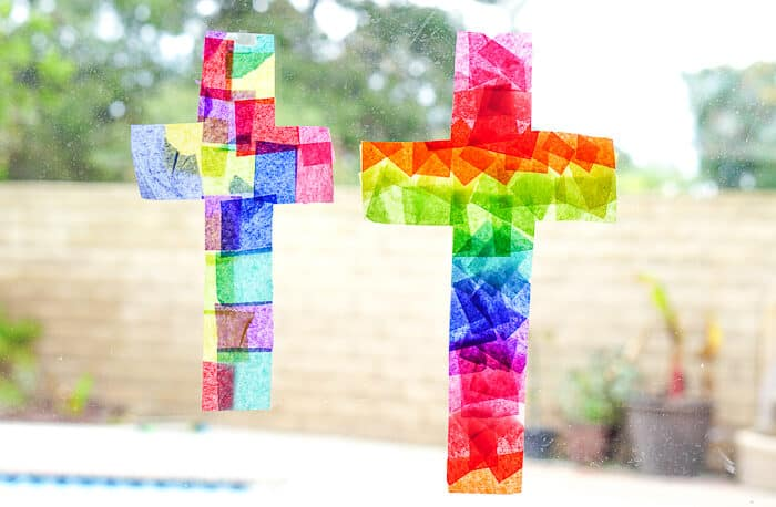 Easy Easter Crafts. This Easter Suncatcher Craft is perfect kids Easter craft. We're show you just how to make a suncatcher with tissue paper.