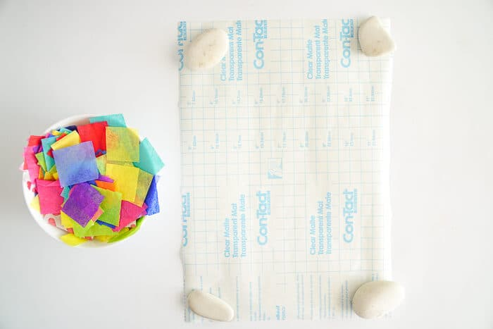 How to make a tissue paper suncatcher.