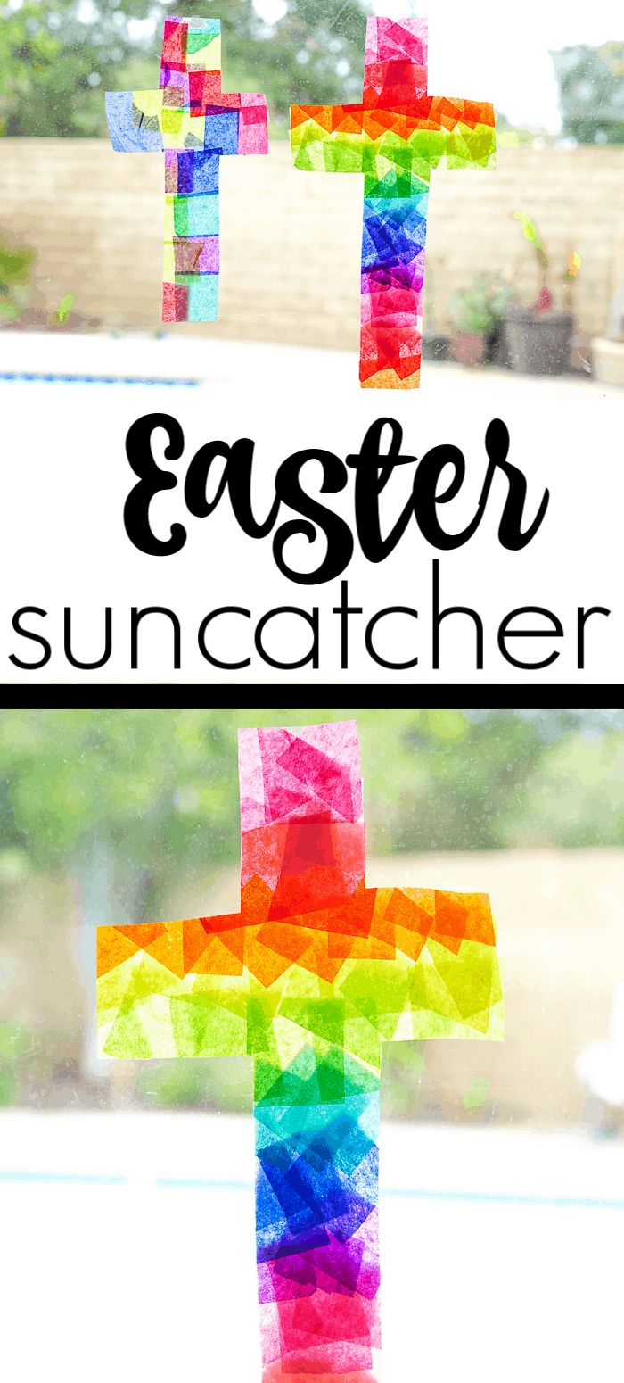 This Easter Suncatcher Craft is perfect kids Easter craft. We're show you just how to make a suncatcher with tissue paper.