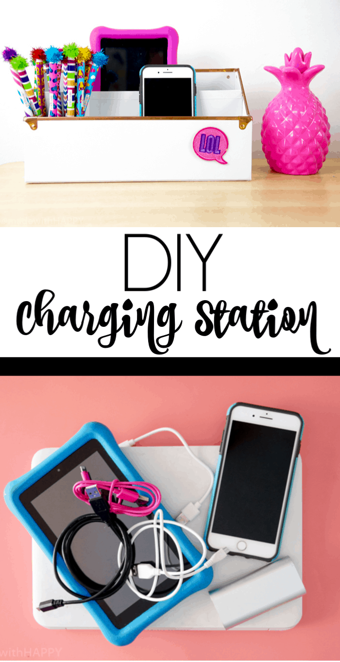 Charging Station Organization. Making Phone Charging Organizer. DIY Charging Station. Make your own Charging Station just in time for back to school. DIY Phone Charging Station. How to make a charging station.