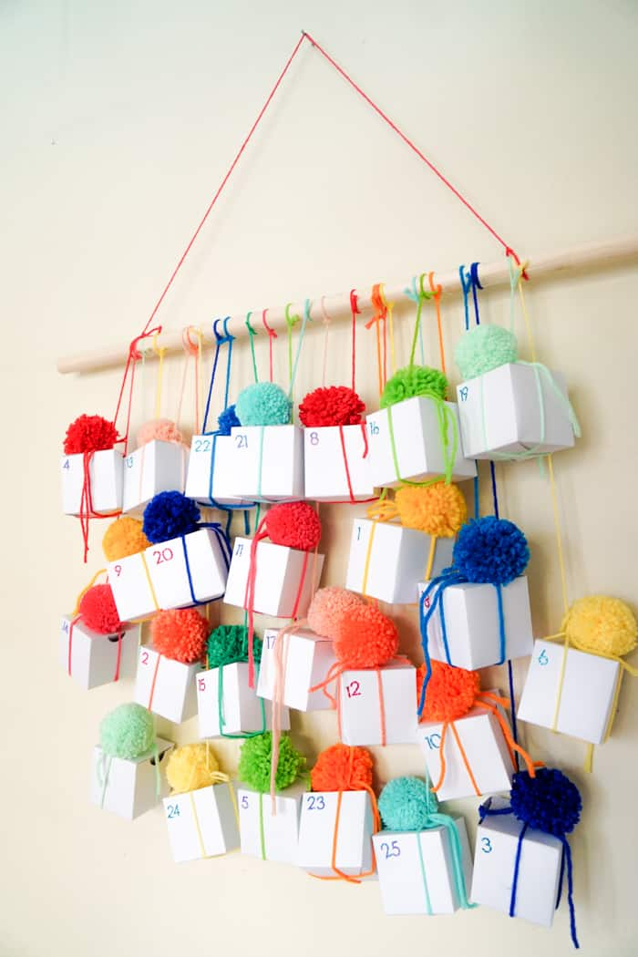 Boxes hanging on a dowel