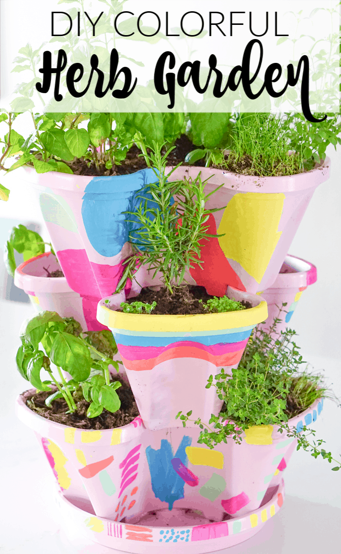 DIY Colorful Herb Garden. Colorful DIY Indoor herb garden. Looking for a colorful diy herb garden then look no further than this herb garden kit that we're sprucing up.
