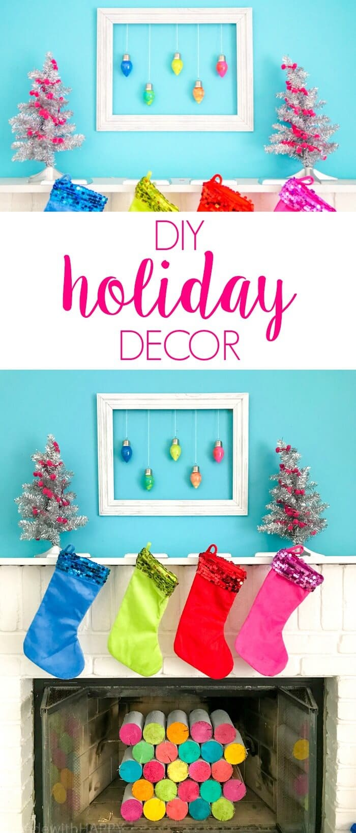 DIY Holiday Decor. Modern Colorful Christmas Decoration Ideas. Marbled Holiday Ornaments, along with pink christmas decorations make for a HAPPY holiday. www.madewithhappy.com