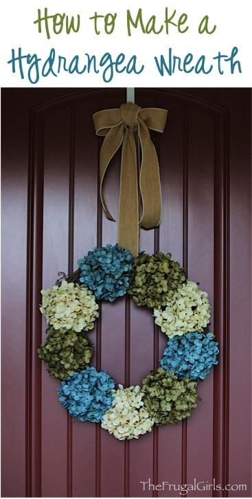 Hydrangea Wreath for Front Door! {make it in 5 minutes!}