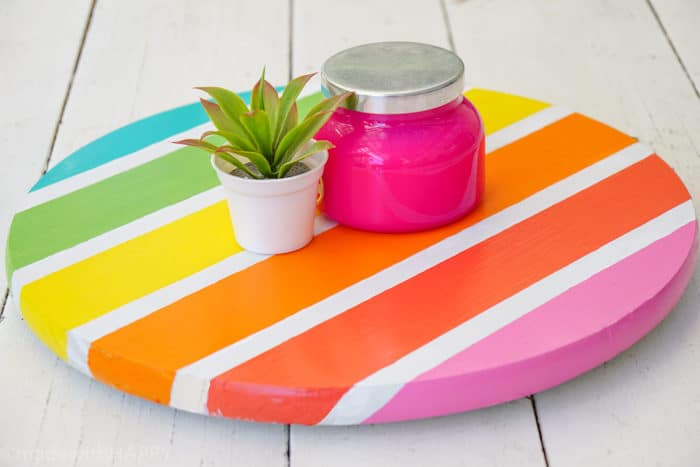 DIY Lazy Susan. How to Make a Lazy Susan. DIY Home Decor with Rainbow Colors. Paint projects for the home. Rainbow accents around the house. DIY Home Decor with this lazy susan
