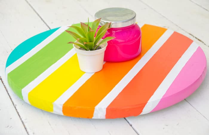 Modern Colorful Home Decor. How to Make a Lazy Susan. DIY Home Decor with Rainbow Colors. Paint projects for the home. Rainbow accents around the house. DIY Home Decor with this lazy susan