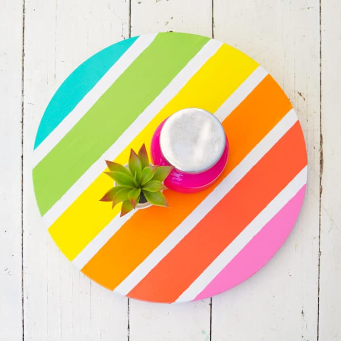 Rainbow striped lazy susan. How to Make a Lazy Susan. DIY Home Decor with Rainbow Colors. Paint projects for the home. Rainbow accents around the house. DIY Home Decor with this lazy susan