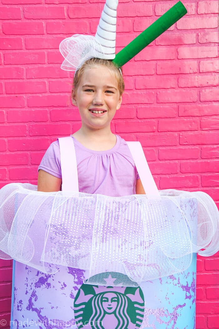 DIY Halloween Costume. How to make a Starbucks drink costume. Starbucks Unicorn Drink Costume. Make your own Starbucks costume this Halloween.