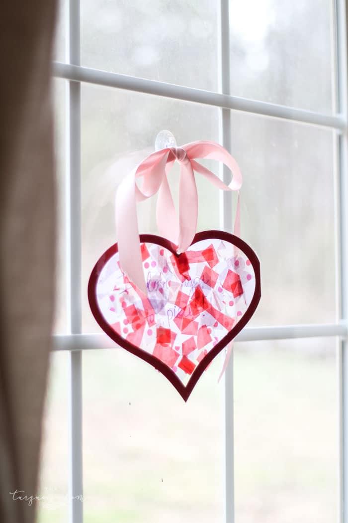 DIY Tissue Paper Sun Catcher Heart