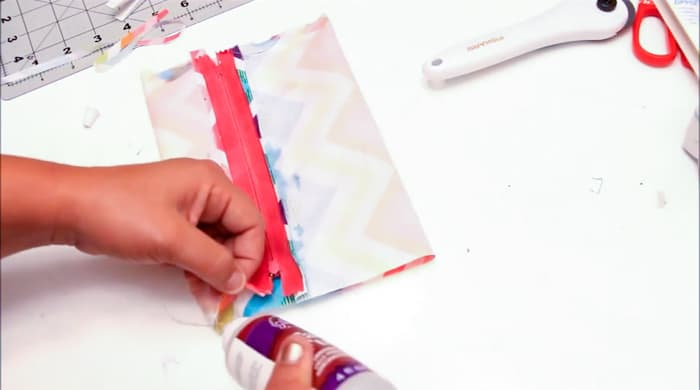 Glue the ends of the pencil case