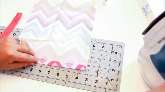 half inch fabric ironed