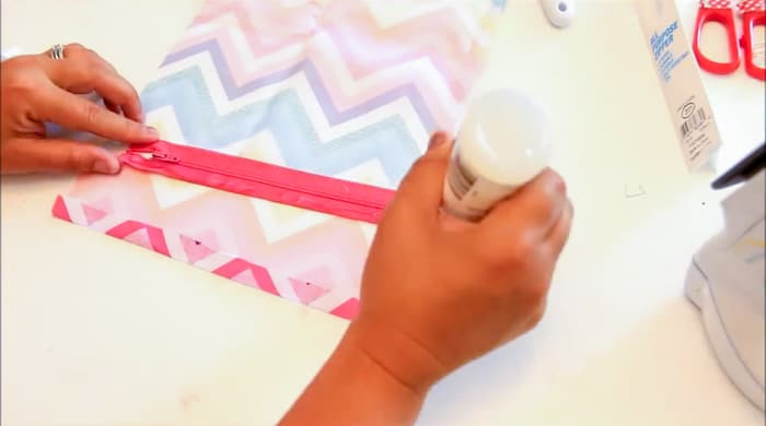 apply fabric glue to zipper