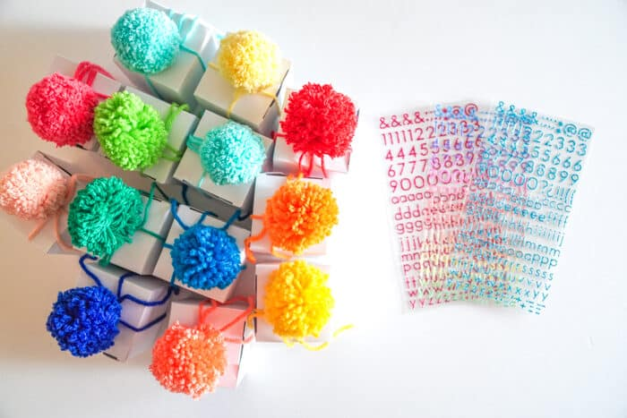 Colorful pom poms
