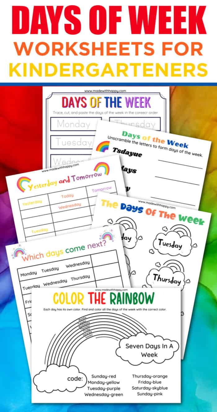 Rainbow Days of the week worksheets