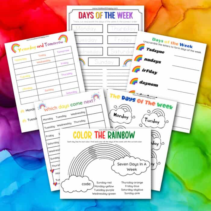 Learning Days of the week for Kindergarteners