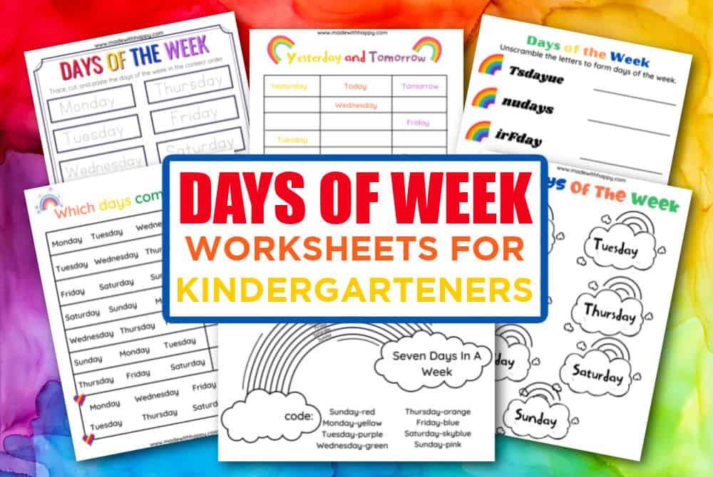 Days of the week worksheet for kindergarteners