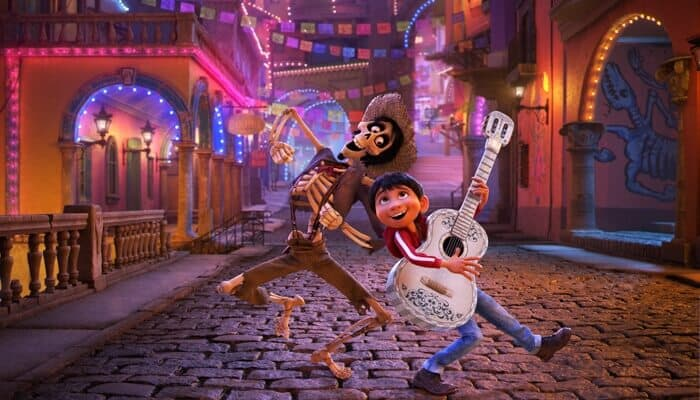 "NAME THAT TUNE – In Disney•Pixar's ""Coco,"" Miguel's love of music ultimately leads him to the Land of the Dead where he teams up with charming trickster Hector. ""Coco"" features an original score from Oscar®-winning composer Michael Giacchino, the original song ""Remember Me"" by Kristen Anderson-Lopez and Robert Lopez, and additional songs co-written by Germaine Franco and co-director/screenwriter Adrian Molina. Also part of the team is musical consultant Camilo Lara of the music project Mexican Institute of Sound. In theaters on Nov. 22, 2017. © 2017 Disney•Pixar. All Rights Reserved."