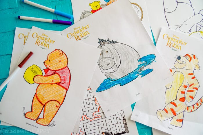 Christopher Robin Coloring Pages. Disney's Christopher Robin Movie Printable and Activity Sheets. Winnie the Pooh Party Decorations. Activity Ideas for Winnie the Pooh fans. Christopher Robin and the 100 acre woods. Pooh party ideas.