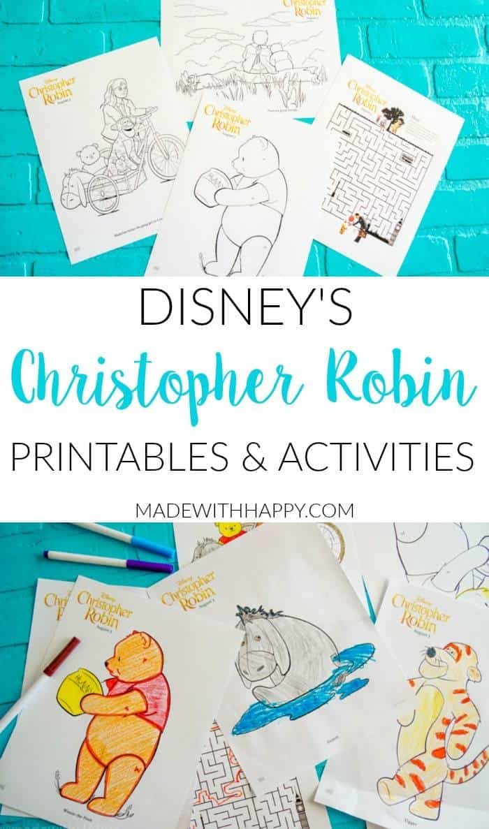 Disney's Christopher Robin Movie Printable and Activity Sheets. Coloring pages for the Christopher Robin Movie. Disney's Christopher Robin Movie Printable and Activity Sheets. Winnie the Pooh Party Decorations. Activity Ideas for Winnie the Pooh fans. Christopher Robin and the 100 acre woods. Pooh party ideas.