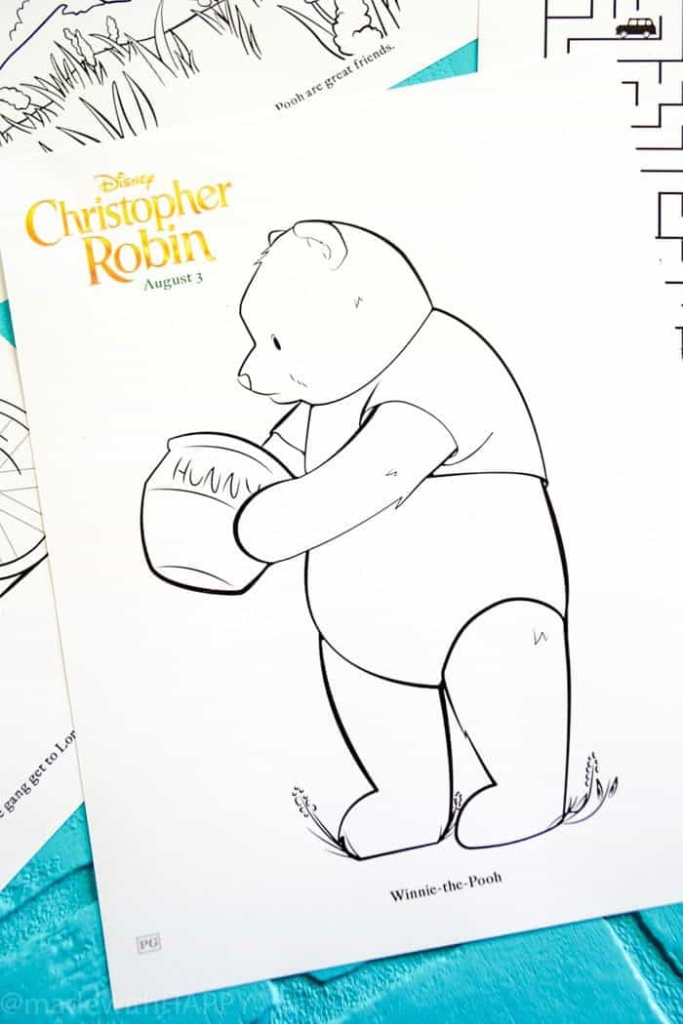 Disney's Christopher Robin Movie Printable and Activity Sheets. Winnie the Pooh Party Decorations. Activity Ideas for Winnie the Pooh fans. Christopher Robin and the 100 acre woods. Pooh party ideas.