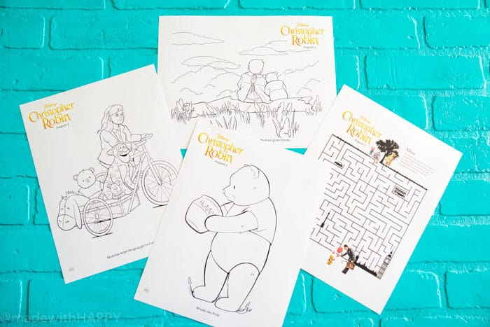 Disney Christopher Robin Movie Activity Pages and Coloring Pages. Disney's Christopher Robin Movie Printable and Activity Sheets. Winnie the Pooh Party Decorations. Activity Ideas for Winnie the Pooh fans. Christopher Robin and the 100 acre woods. Pooh party ideas.