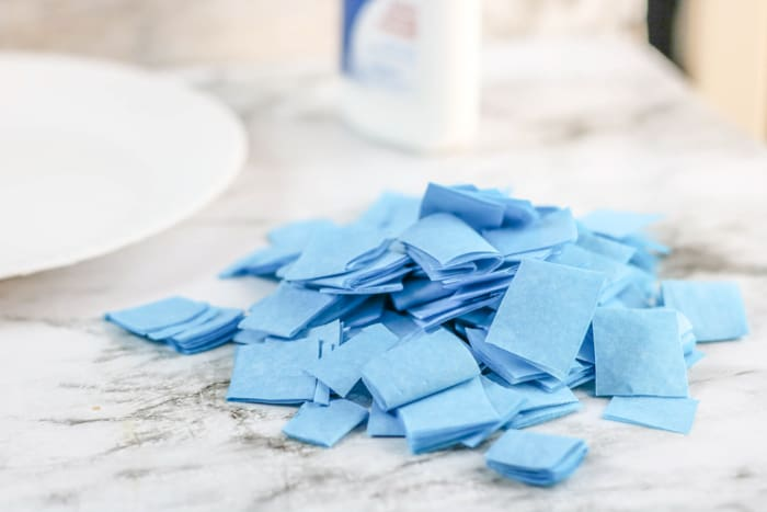 Blue Tissue Paper Cute into squares
