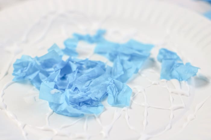 crumbled blue tissue paper