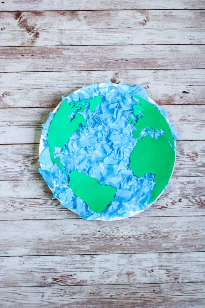 Making the Earth out of paper plate