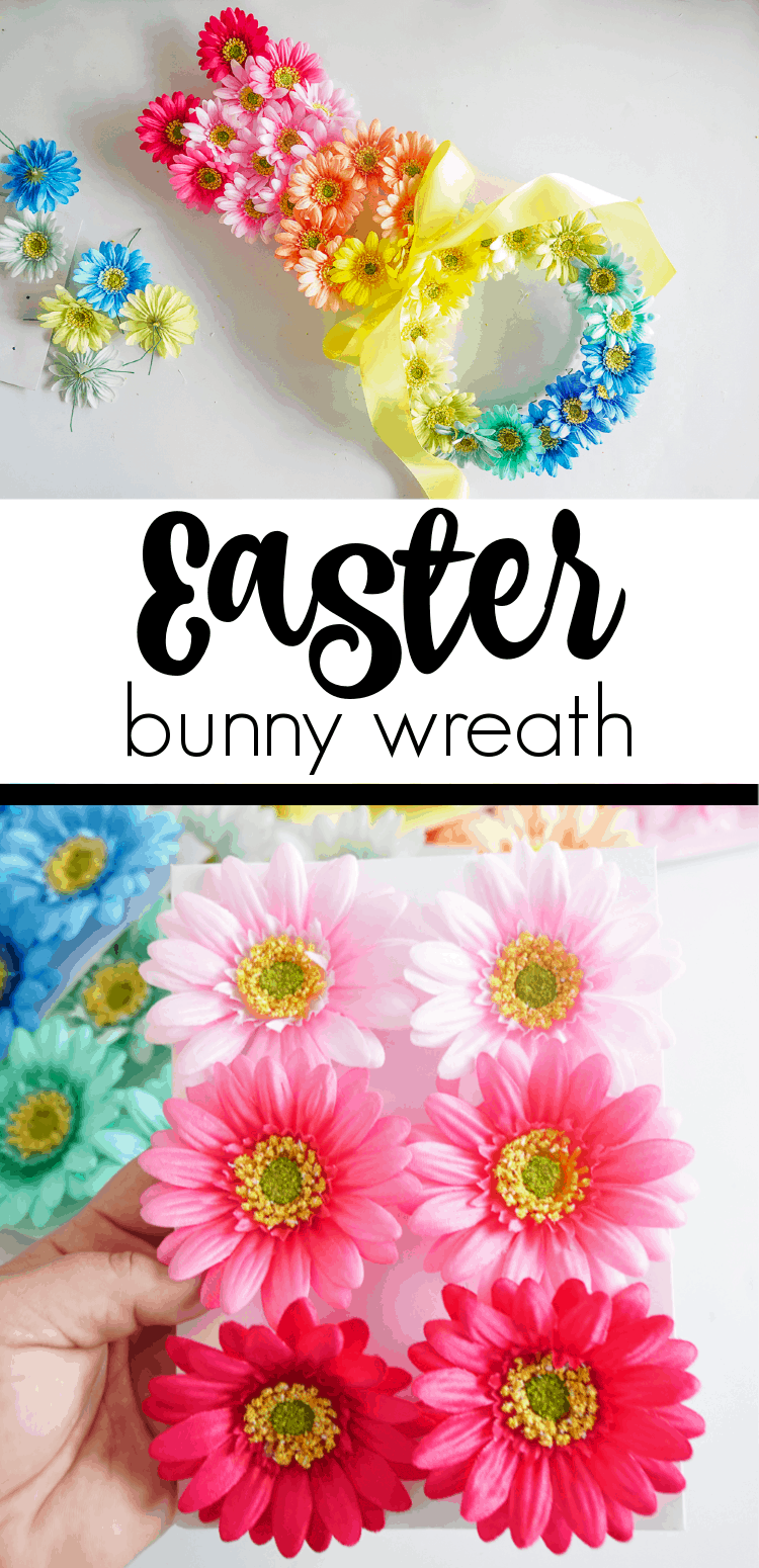This Easter Bunny Wreath is the perfect DIY Easter wreath. The flowers are just what your Spring Door Hanger needs. Easter Door Hangers made pretty.