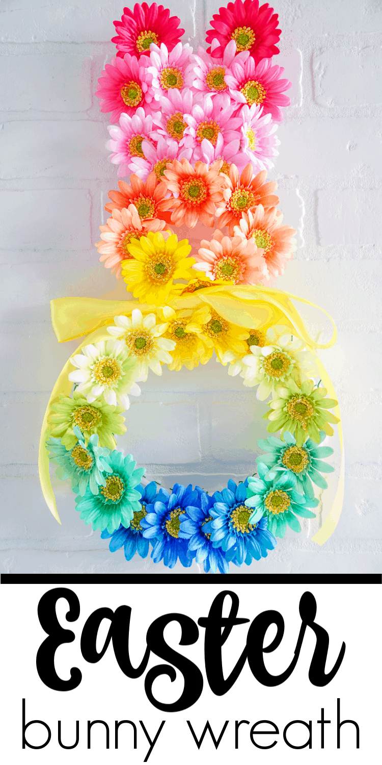 Ombre Flower Easter Bunny Wreath. This Easter Bunny Wreath is the perfect DIY Easter wreath. The flowers are just what your Spring Door Hanger needs. Easter Door Hangers made pretty.