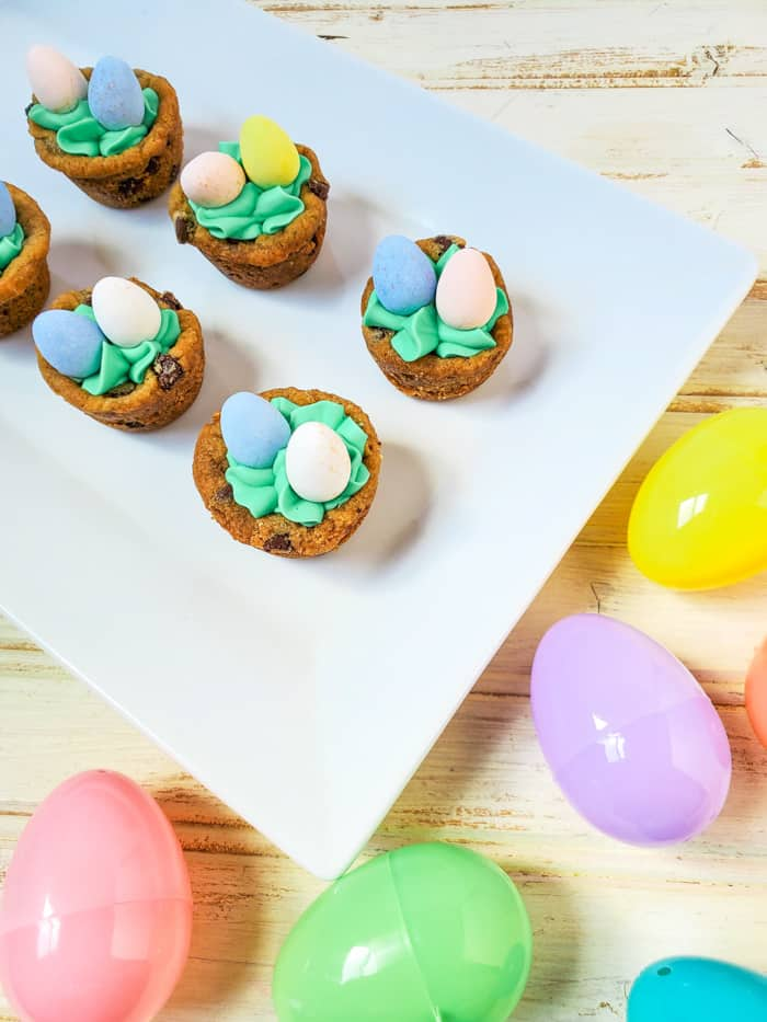 Cookie Cups near a plastic easter egg.