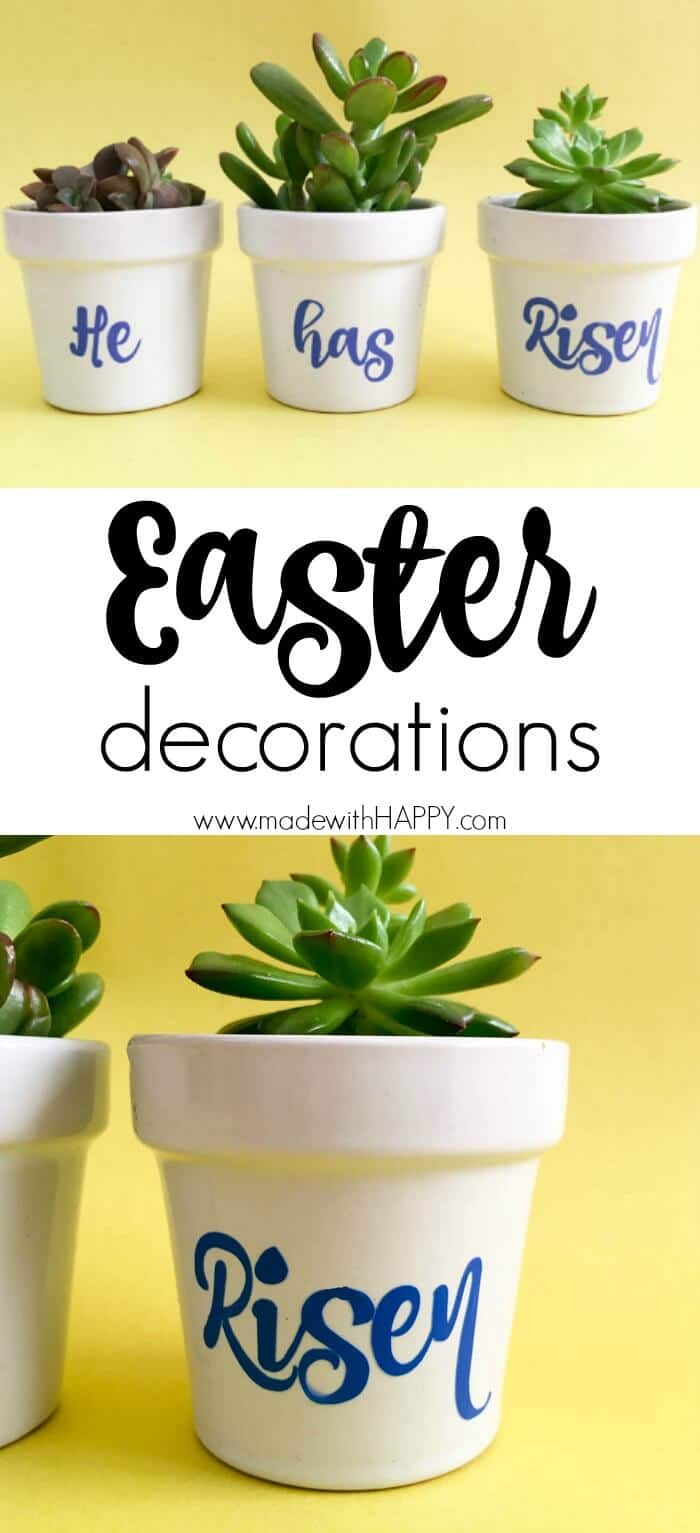 He has risen Easter decorations | Easter Decor celebrating Jesus | Mathew 28:6 He is not here; he has risen, just as he said. | www.madewithhappy.com