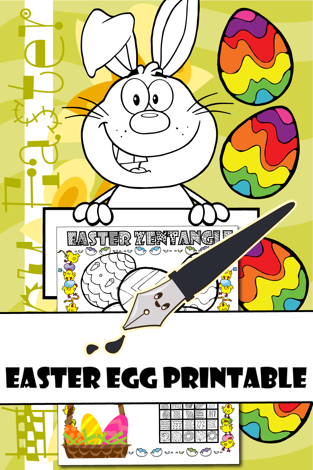 Easter Egg Printable with Easter Bunny
