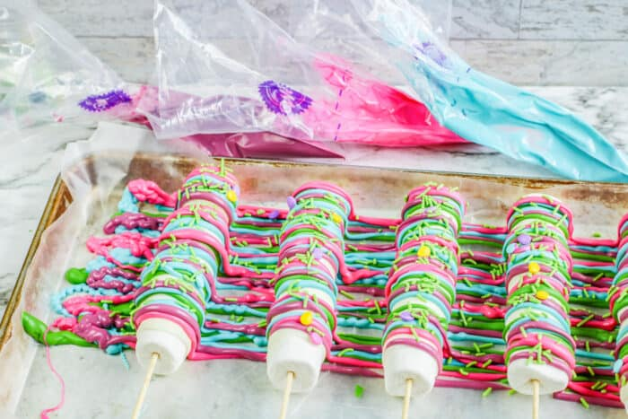 making of the marshmallow popsicles