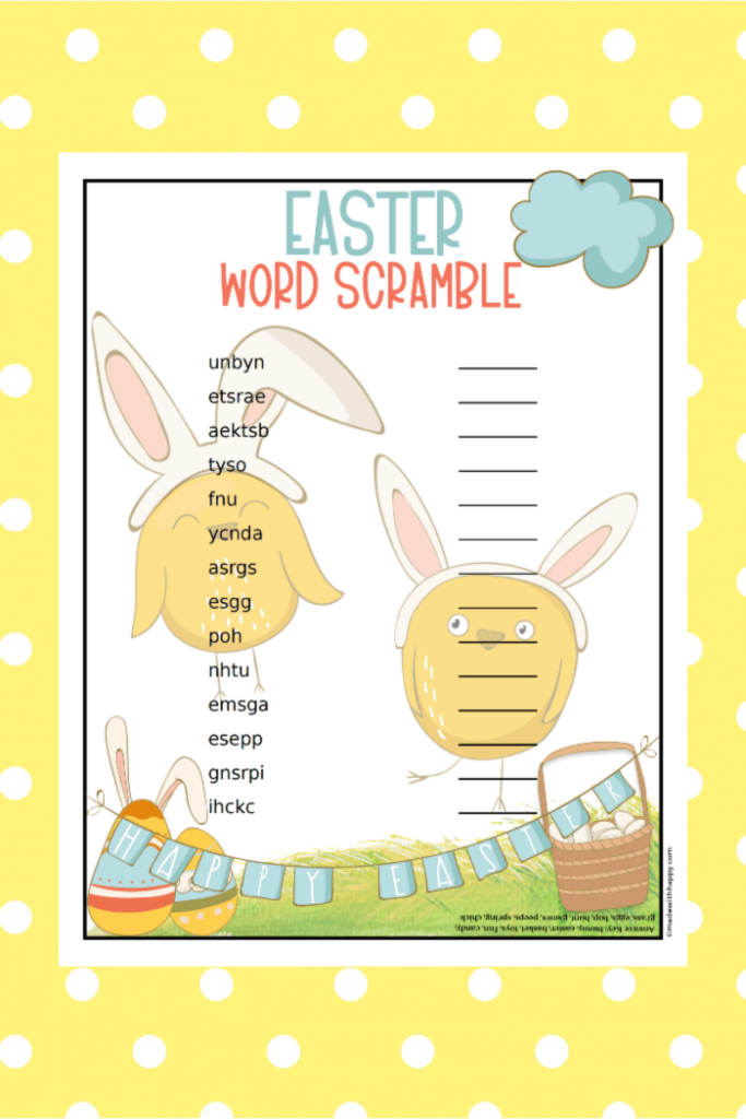 Free Easter Word Scramble Printable
