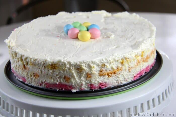 Spring Rainbow Icebox Cake | Easter Dessert | Bright Colored Icebox Cake | Cream Cheese Cake | www.madewithHAPPY.com