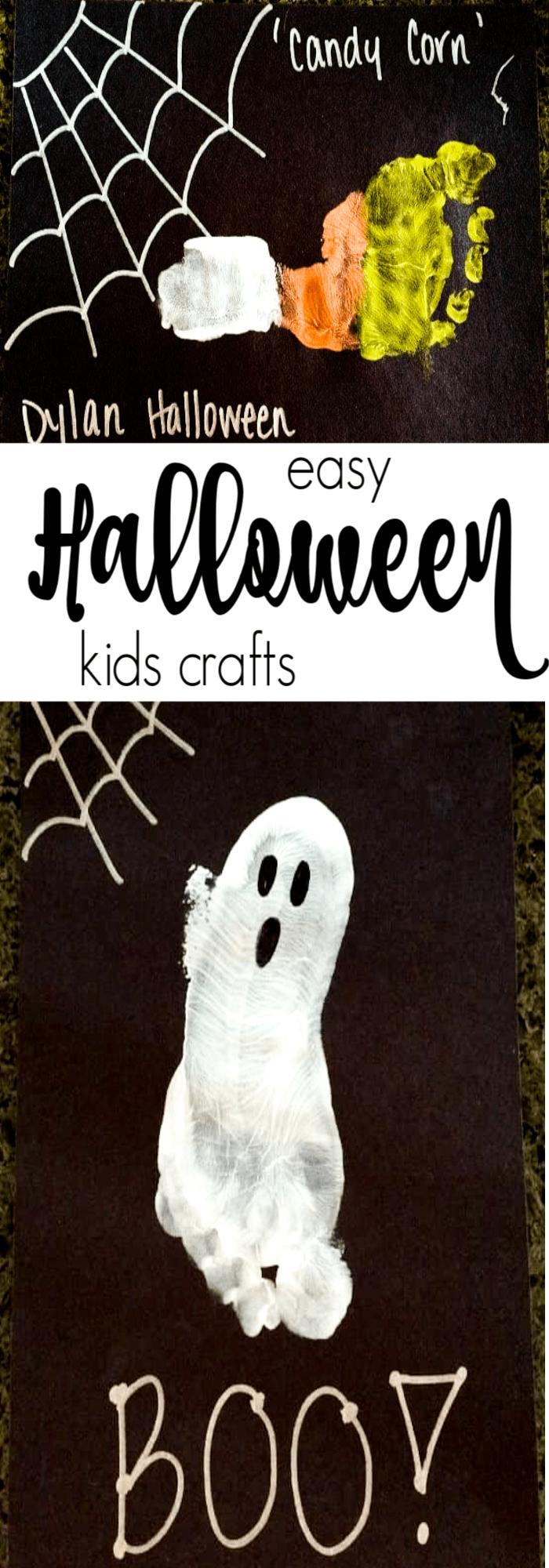 Footprint Crafts | Last minute kids halloween crafts. Kids Halloween Crafts | Frankenstein Foot Prints | Preschool Kids Crafts | Last minute Halloween Fun! | www.madewithhappy.com