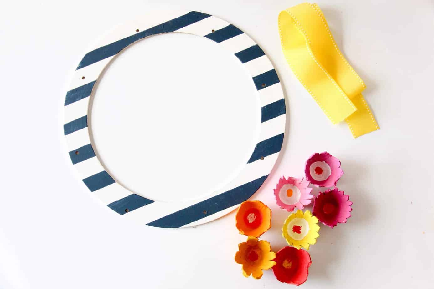 painted wreath with flowers