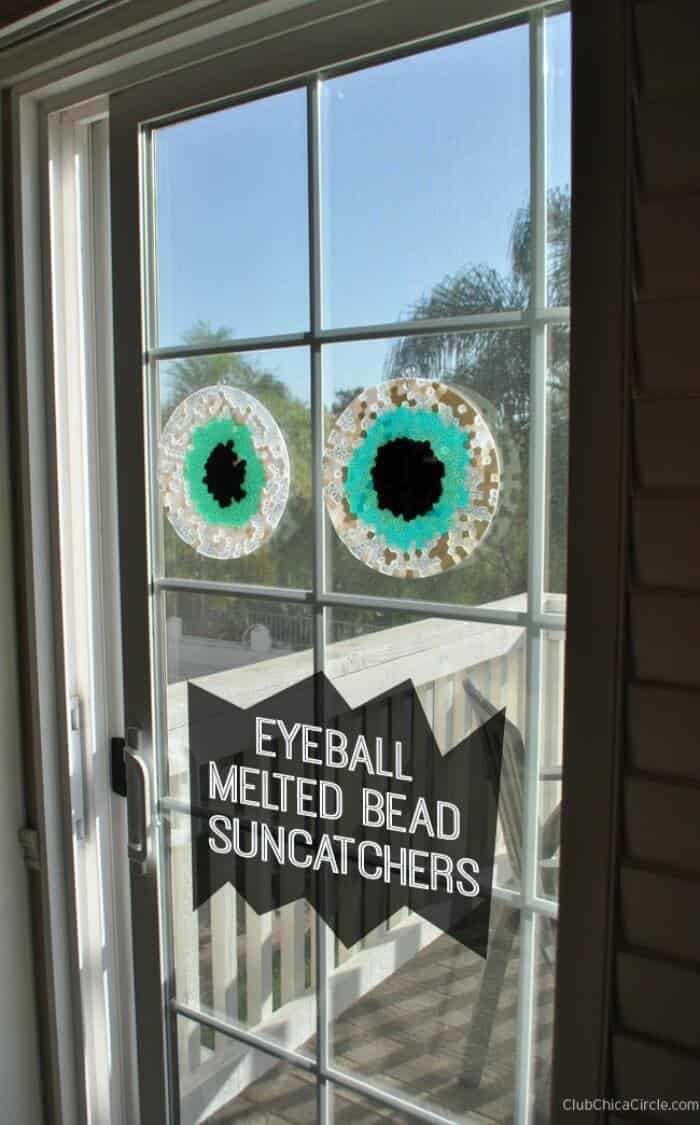 Halloween Craft Ideas. Eyeball melted bead suncatchers. Halloween Kid Crafts. Halloween Window Crafts.