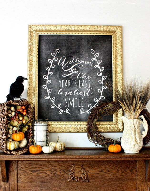Fall Inspired Chalkboard - Nest of Posies | 15 DIY Fall Crafts | www.madewithHAPPY.com