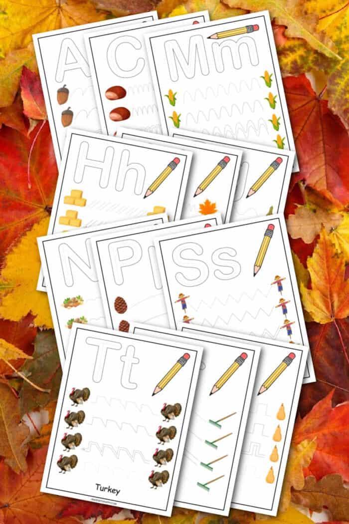 Fall Printable Tracing Worksheets
