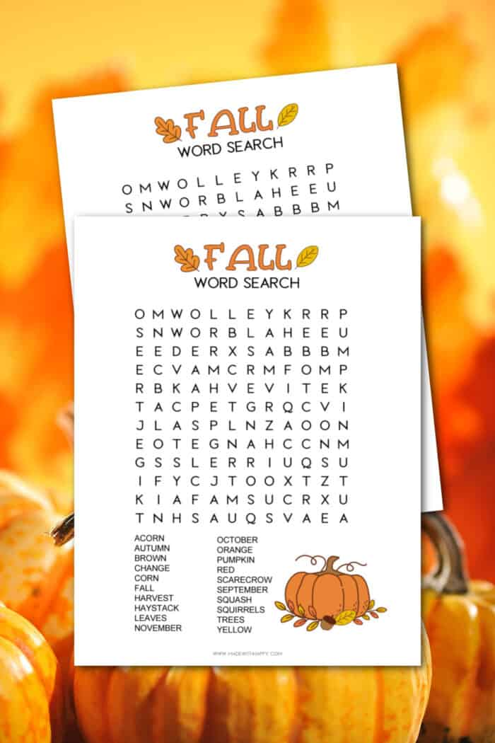 Fall Word Search Printables