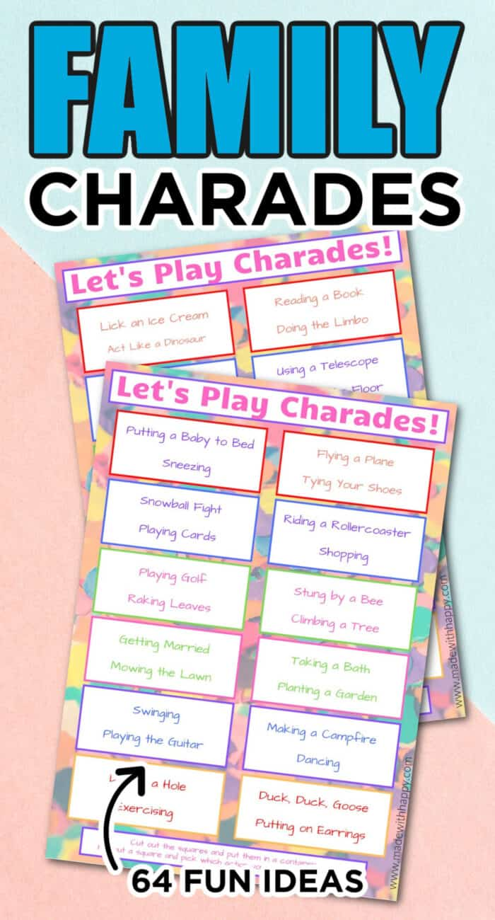 charades ideas for kids