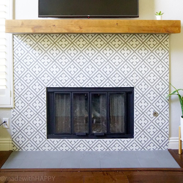 Modern Fireplace Makeover Just Like Cement Tile But Portuguese Ceramic