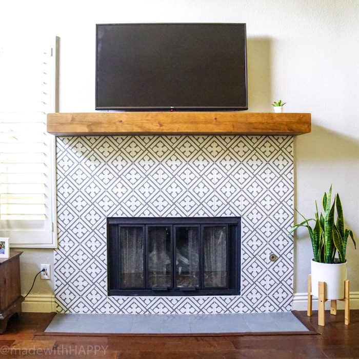 Modern Fireplace Makeover Made With Happy, Ceramic Tile Fireplace Wall