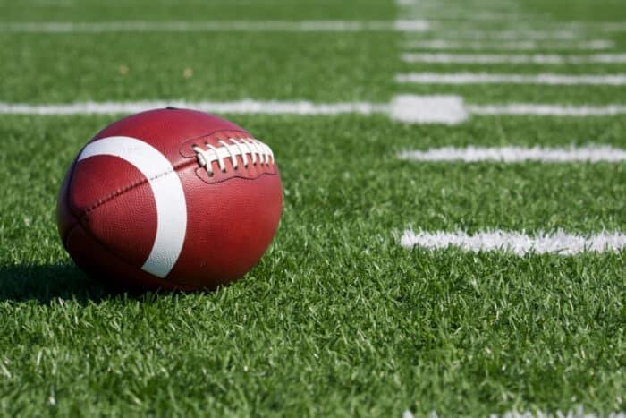 a football on a field
